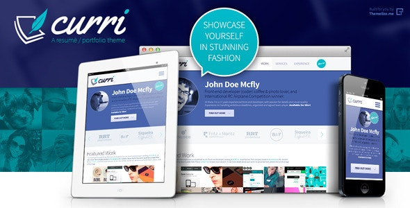 Curri Retina Ready CV Template - Resume / CV Specialty Pages