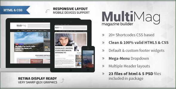 MultiMag - Clean & Flat Magazine HTML - Corporate Site Templates