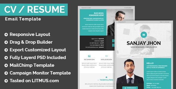 CV/Resume Email Template + Builder Access - Email Templates Marketing