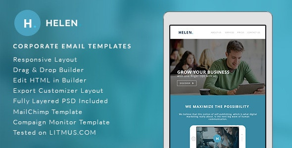 Helen - Corporate Email Templates + Builder Access - Email Templates Marketing