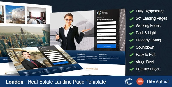 London - Real Estate Landing Page - Marketing Corporate