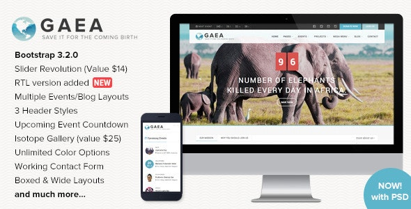 GAEA - Responsive Environmental HTML5 Template - Environmental Nonprofit