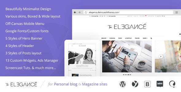 Elegance - A Flawlessly Minimalist Blogging theme - Blog / Magazine WordPress