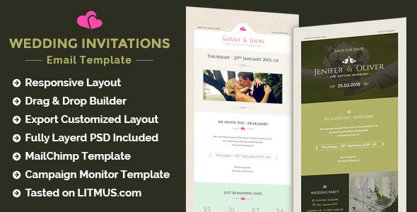 Wedding Invitation Newsletter + Builder Access - Email Templates Marketing