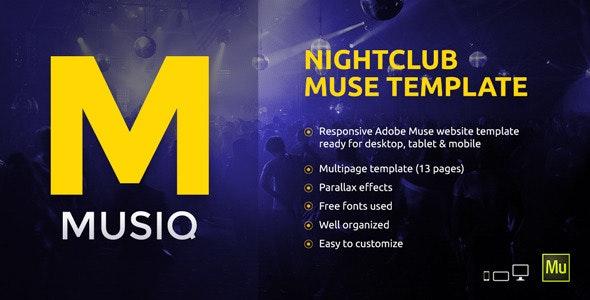 Musiq – Nightclub / Discotheque / DJ Bar Website Muse Template - Creative Muse Templates