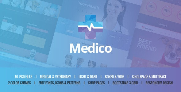 Medico - Medical & Veterinary PSD Template by mwtemplates