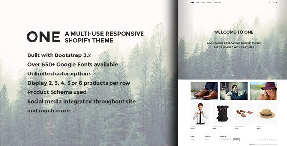 ONE - A multi-use responsive Shopify theme - Shopify eCommerce