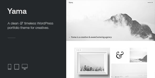 Yama: a clean, responsive and minimal WP portfolio theme with a strong focus on beautiful typography