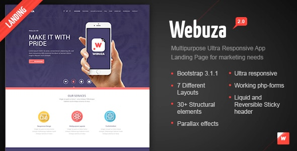Webuza -  Multipurpose Landing Page for Apps - Technology Landing Pages