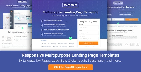 Multipurpose Landing Page Template - ReadyMade - Landing Pages Marketing