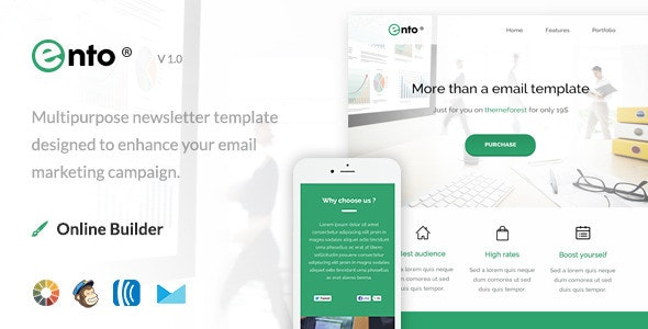 Ento - Modern Email Template + Online Editor - Email Templates Marketing