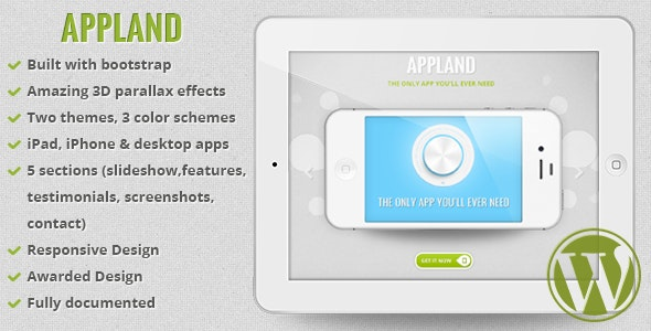 AppLand - Parallax App Landing Wordpress Theme - Software Technology