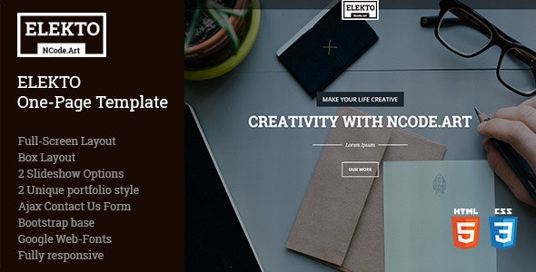 Elekto - One Page Template - Site Templates