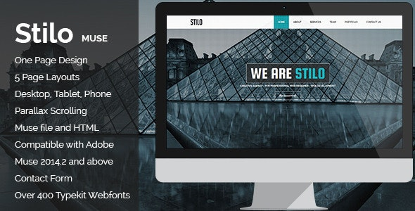 Stilo - Creative Parallax One Page MUSE Template - Corporate Muse Templates