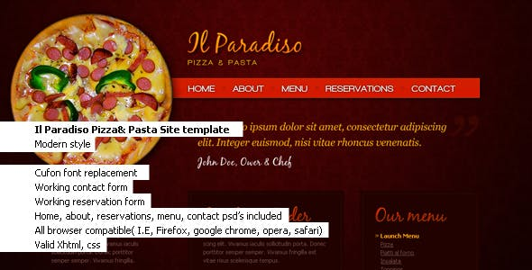 Il Paradiso, Pizza & Pasta Restaurant HTML+CSS