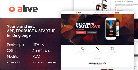 Alive: Responsive Bootstrap HTML5 App Landing Page