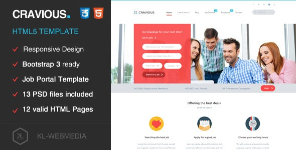 Cravious - Job Portal HTML5 Template - Business Corporate