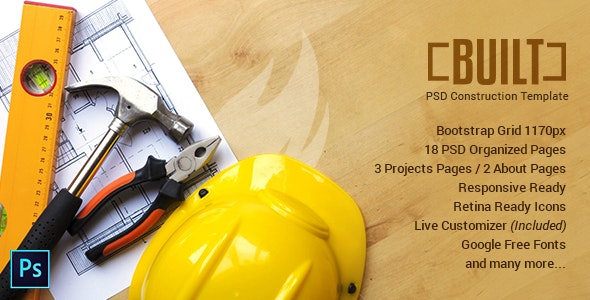 BUILT   PSD Template for Construction Businesses - Business Corporate
