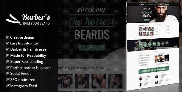 Barber - WordPress Theme for Barbers & Hair Salons - Health & Beauty Retail