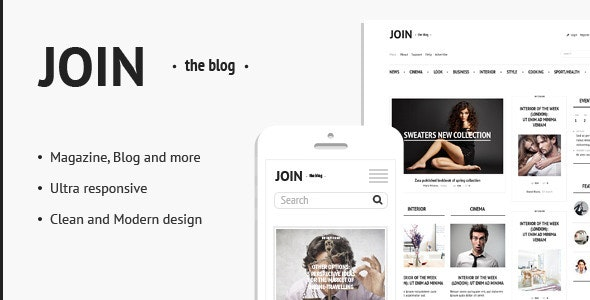 Join The Blog - Blog and Magazine PSD Template - Photoshop UI Templates