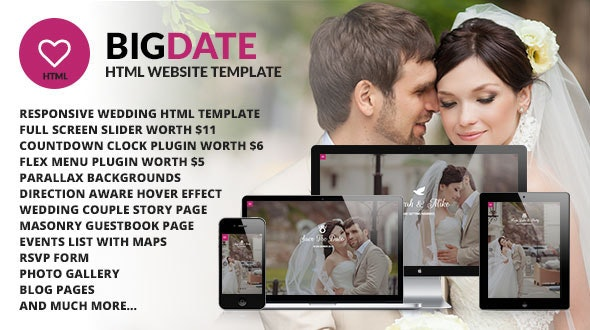 Big Date Wedding Responsive Site Template