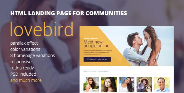 Lovebird - HTML5 Landing Page for Communities