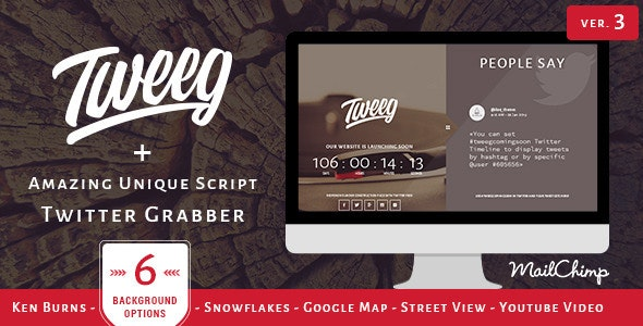 Tweeg - Responsive Countdown Landing Page - Under Construction Specialty Pages