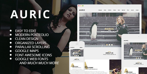 Auric - One Page Modern Muse Template - Corporate Muse Templates