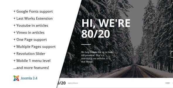 80/20 :: Responsive Joomla One-Page Template - Creative Joomla