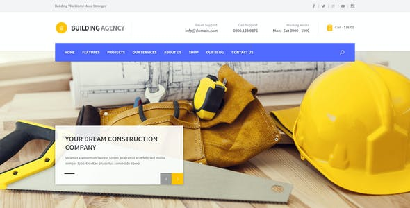 Building Agency -  Blog and Shop PSD
