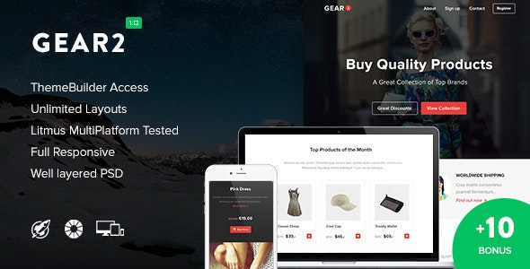 Gear2 + 10 Notification Templates & Themebuilder Access - Newsletters Email Templates