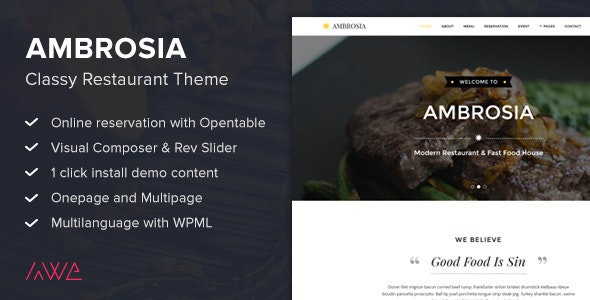 Ambrosia - Classy Restaurant Wordpress Theme - Restaurants & Cafes Entertainment