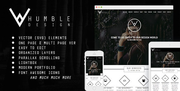 Humble - One Page & Multi Page Modern Muse Template - Corporate Muse Templates
