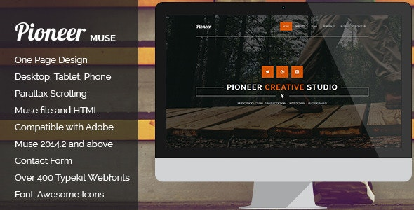 Pioneer - One Page MUSE Template - Corporate Muse Templates