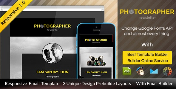 Photographer - Responsive Email + Builder Access - Email Templates Marketing