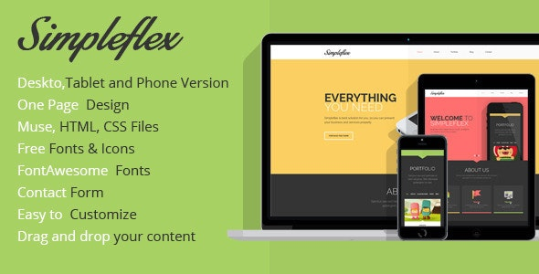 Simpleflex OnePage Muse Template - Creative Muse Templates