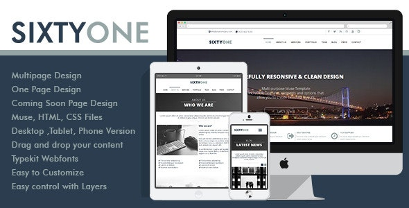 SixtyOne Multipurpose Muse Template - Corporate Muse Templates
