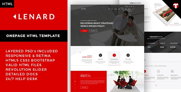 Lenard - Onepage Business Responsive Site Template - Business Corporate