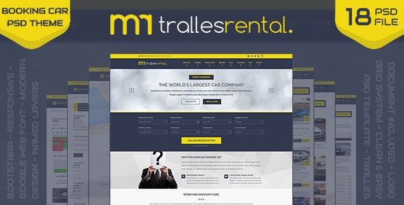Tralles - Car Rental, Sell and Booking PSD Template - Retail Photoshop