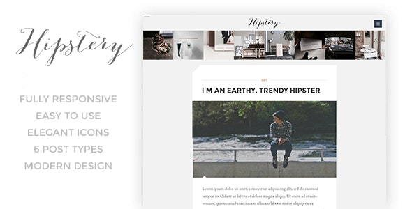 Hipstery - Responsive Content Focus Blog Template - Personal Site Templates