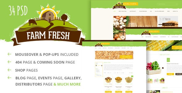 Farm Fresh - Organic Products PSD Template - Health & Beauty Retail