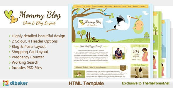 Mommy Blog HTML - Including Shop & Blog Layout