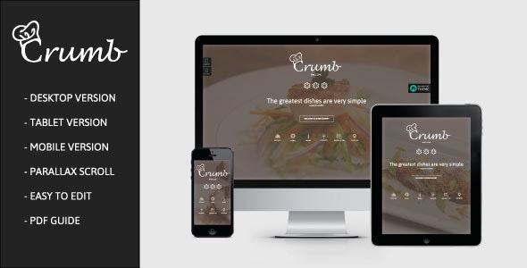 Crumb - One page Restaurant Muse Template - Corporate Muse Templates