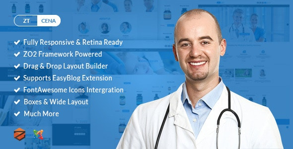 Cena Medical & Health Joomla Virtuemart Template - Joomla CMS Themes