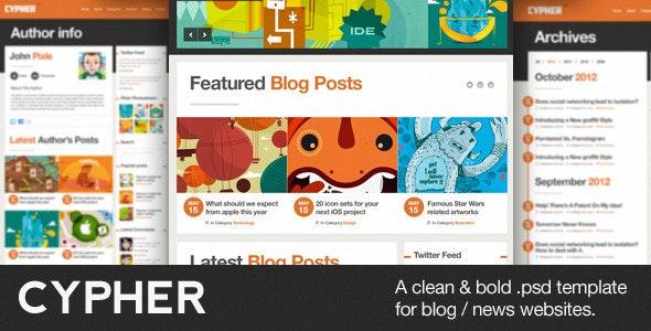 Cypher - A Bold Blog / News PSD Theme - Corporate Photoshop