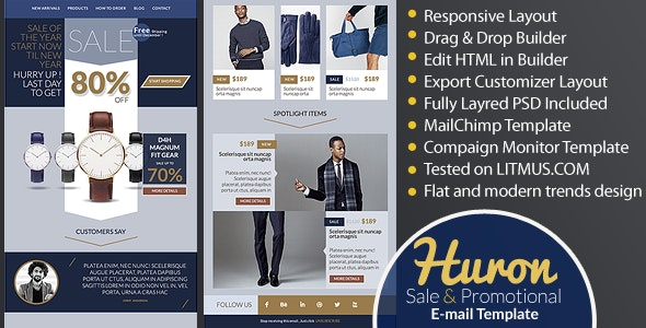 Huron : Sale and Promotional E-newsletter + Builder Access - Email Templates Marketing