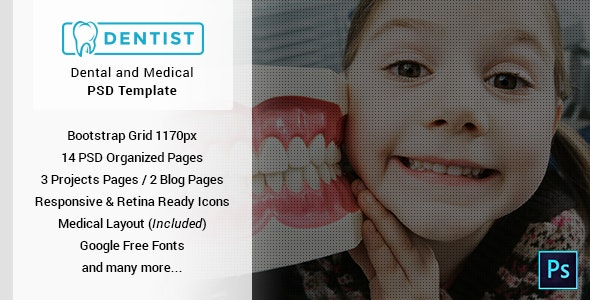 Dentist - Dental & Medical One Page PSD Template - Corporate Photoshop