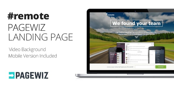 Remote | Pagewiz Landing Page with Fullscreen Video - Pagewiz Marketing