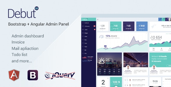 Debut UI Kit- AngularJS Admin Dashboard Template - Admin Templates Site Templates