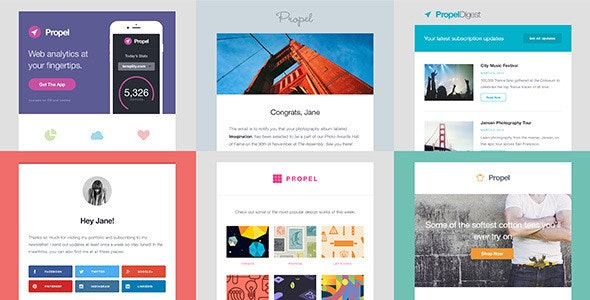 Propel - 6 Responsive Email Templates - Newsletters Email Templates